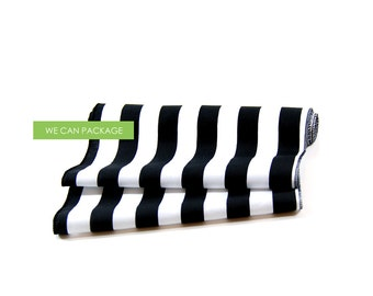 "Black and White Striped Table Runner 12"" x 96"""
