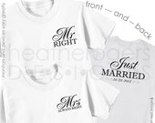 Bride Shirt & Groom Shirt - Just Married Shirt Set - Mr and Mrs Shirt Set - Front and Back Design with Wedding Date