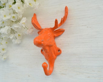 Cast Iron Moose Hook, Wall Hook, Robe Hook, Animal Hook