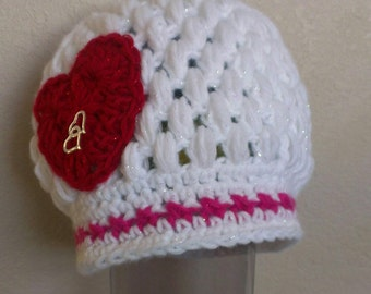 FREE SHIPPING-Hand Crochet-Sweetheart Puff Stitch Beanie Hat-White & Pink Sparkle Beanie-Red Sparkle Heart With Charm-Size: 6/9mo-Photo Prop