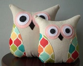 Owl Pillow - Green, Pink, Yellow, Peach & Aqua - Small or Large