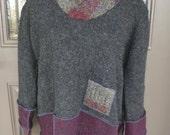 Recycled sweater hoodie sweatshirt Katwise inspired Women's Medium M Men's Small S wool hippie fantasy grey maroon red