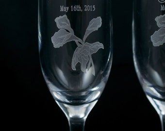 Calla Lily Champagne Glasses Personalized with Names and Date