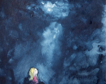 Stormclouds - Little girl in the storm original illustration -