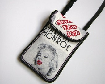 NEW Neck Case fits iPhone / 4 Cellphone Cover Smartphone Purse, Padded Cell Phone mini sling tote Cute Small Cross Body Bag Marilyn Monroe