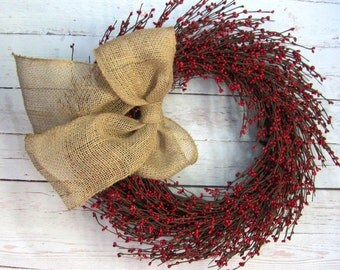 Christmas Wreath - Home Decor - Red Berry - Pip Berry Wreaths -  Winter Wreath - Seasonal Wreath - Primitive Wedding Wreaths - Fall Wreath
