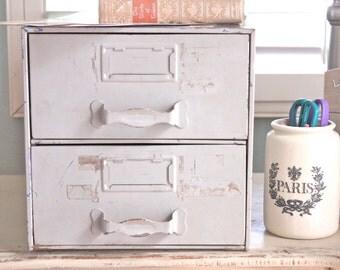 Vintage File Cabinet, Drawer, Organizer or Rustic Industrial Metal Tool Box