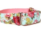 "Floral Dog Collar 1.5"" Martingale Dog Collar"