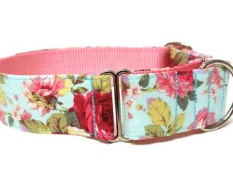 "Floral Dog Collar 1.5"" Martingale Dog Collar SIZE LARGE"