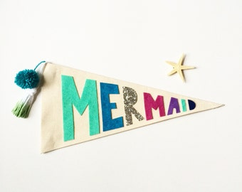 Pennant Flag Mermaid - Canvas Felt Embroidered Wall Decor - Wall hanging banner - Custom Name Pennant - Nursery Decor - Modern Children's de