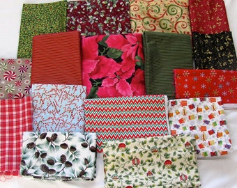 Christmas holiday designer cotton fabrics in sparkles, holly, chevron, poinsetta, pine cones and candy canes in red, green, pink on sale