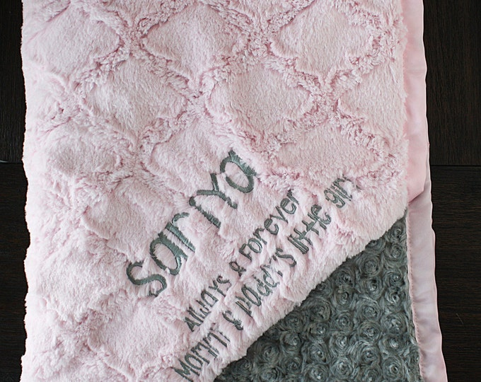Embroidered Minky Blanket, Custom blanket, blanket with name, personalized baby blanket, baby girl, Pink blanket, pink and grey, baby gift