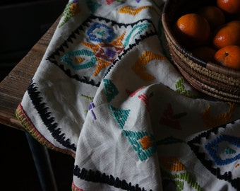Vintage Embroidered Table Cloth, Round- Free Shipping