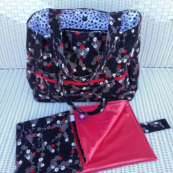 asher custom diaper bag and changing pad. Black Bedroom Furniture Sets. Home Design Ideas