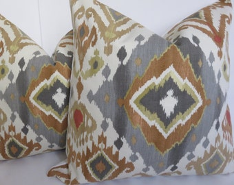Ikat Gray Decorative Pillow Covers, Mustard, Taupe bay Red,Camel Pillow covers, Diamond Gray Pillows, Accent Home