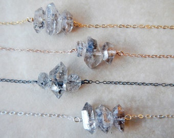 herkimer quartz necklace  - double terminated quartz necklace - little herkimer necklace - raw crystal jewelry