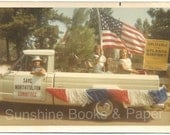 Parade Car - Vintage Color Photo - American Flag - Vintage Car - Atlanta - Color Snapshot - Convertible - Fourth of July - Memorial Day