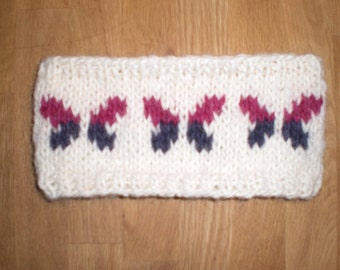 Icelandic headband with butterfly, handmade from 100% pure Icelandic wool, made to order