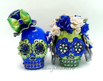 Skull green and purple weddings cake topper handmade bride and groom