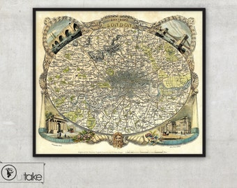 "map of London, vintage London city map  ""Environs Of London"" Archival Fine Art print - 088"