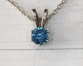 5mm round Montana Sapphire Solitaire Necklace in Sterling Silver