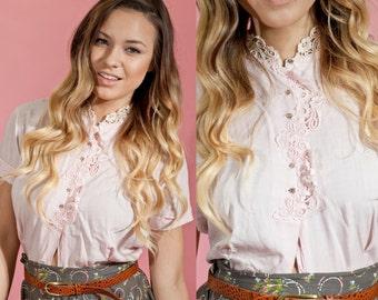 50s Lace Blouse Vintage Pink Linen Collar Blouse