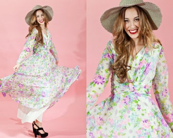 60s Pink Chiffon Maxi Vintage Pastel Pink Floral Dress