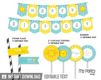 You are my Sunshine Party Pack - Yellow and Turquoise - Printable PDF with Editable Text