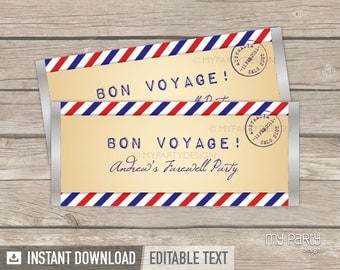 Travel Party / Farewell Party - Chocolate Wrappers - Vintage - INSTANT DOWNLOAD - Printable PDF with Editable Text