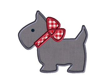 Scottie Dog Applique Machine Embroidery Design-INSTANT DOWNLOAD