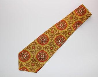 1970's Wide Necktie, Yellow Gold Orange Brown, Mens Necktie, Vintage Style Neckwear, Wide Tie, Retro Tie, BB 350-1