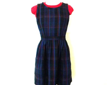 Plaid Wool Jumper Dress / Schoolgirl Jumper / Work Dress / Schoolgirl Cosplay Dress / Short Wool Dress / Schoolgirl Uniform