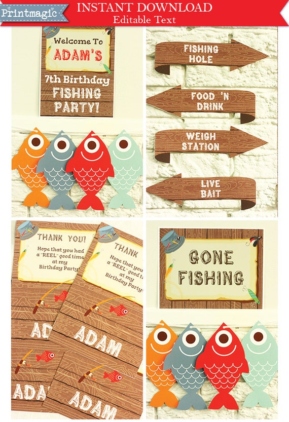 Gone Fishing Party Invitations & Decorations - Printable Party Kit - Editable Text you personalize at home - Instant Download