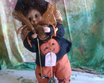 REDUCED  Brinn's October Doll, A Hollaween Clown, with a Jack-O-Lanternon it's Shirt
