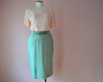 1950's Mint Green Tweed Skirt  with Matching Belt Modern Size Medium Large   - VDS125