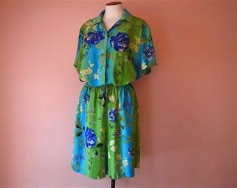 Hawaiian Shirt Romper.  Resort Wear. 2 Piece Matching Shirt and Shorts.  Set Modern Size Medium Large VTB37