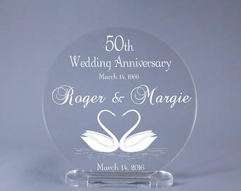 "Swans 50th Wedding Anniversary Cake Topper Keepsake 4"" - 7"" diameter available"