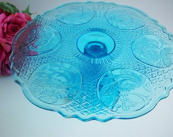 Blue Flower Medallions Cake Stand - Strombergshyttan Sweden - 1930's Pattern Glass Cake Stand - Wedding Cake Stand - Something Blue
