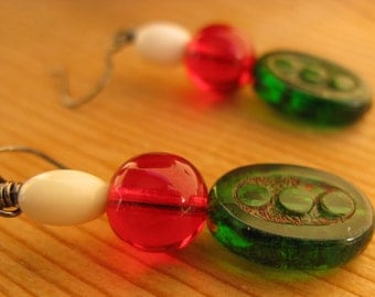 Christmas lights earrings bright red and green