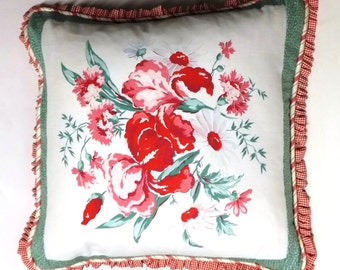 Large decorative pillow made from vintage fabrics