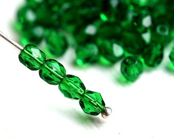 4mm glass beads - Emerald Green fire polished czech beads, faceted round spacers - 50Pc - 1653