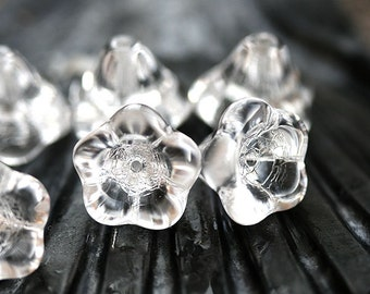 Puffy Flower beads - Crystal Clear - czech glass pressed beads, Bell flower, 13x11mm, large flower - 6Pc - 1747