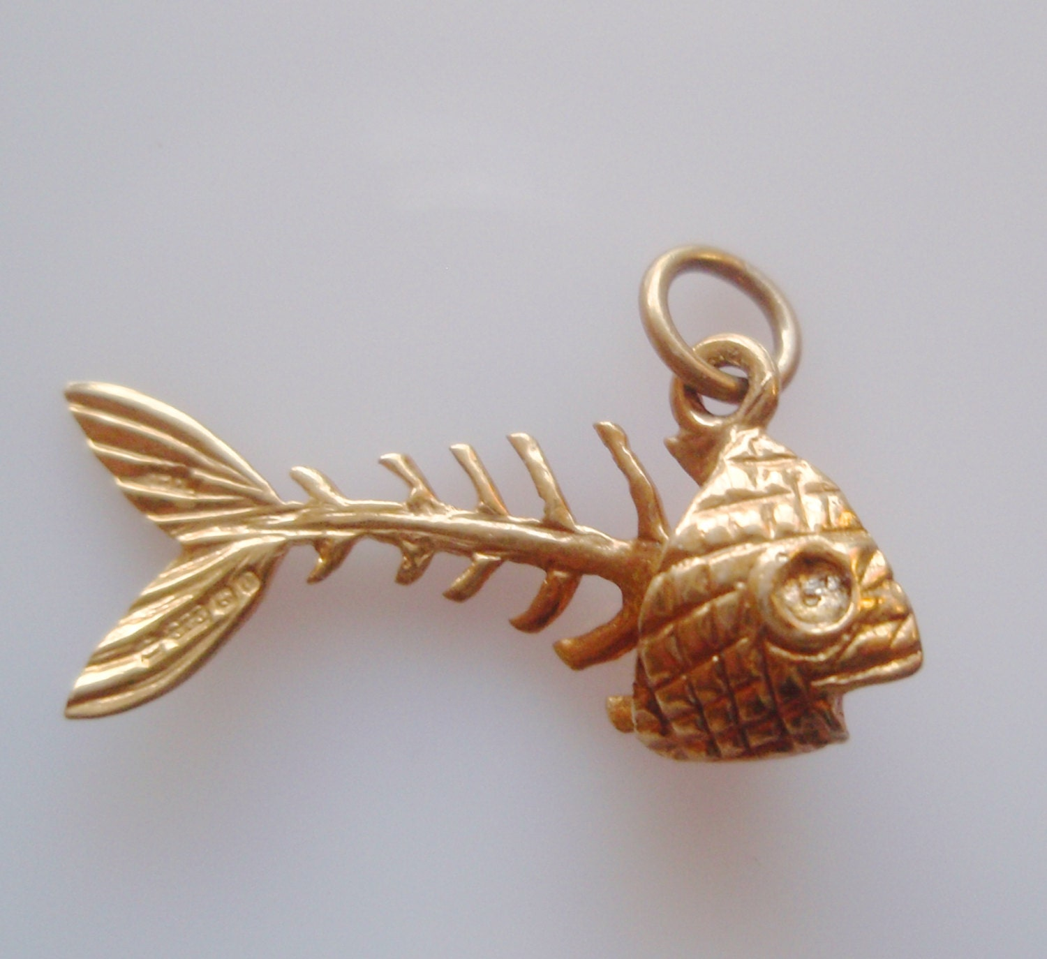 Vintage 9 ct gold fish skeleton charm or pendant for Gold fish pendant