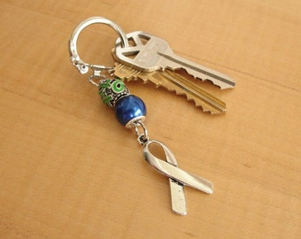 Blue and Green Awareness Key Chain - Intracranial Hypertension IH / Pseudotumor Cerebri PTC