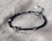 Diamond Pave Bracelet with Black Spinel - Luxe Black Bracelet with Pave Diamond and Rough White Diamond