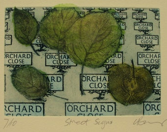 Apple Orchard Etching, hand tinted chine collè. street signs. Limited edition.