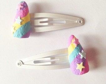 Lush inspired pair of unicorn horn hair clips pastel valentines rainbow bubble bar polymer clay handmade ooak handcrafted kawaii kitsch