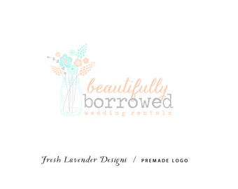 Custom Logo Design Premade Logo and Watermark for Photographers and Small Crafty Boutiques Hand Drawn Bouquet & Mason Jar Shabby Chic
