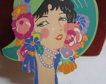 Gorgeous unused 1920's-30's Gibson die cut bridge tally beautiful girl with very elaborately decorated bonnet