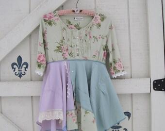 Boho tunic, lagan style, S, cottage garden, Tattered Lagan style, upcycled Shaby Vintage